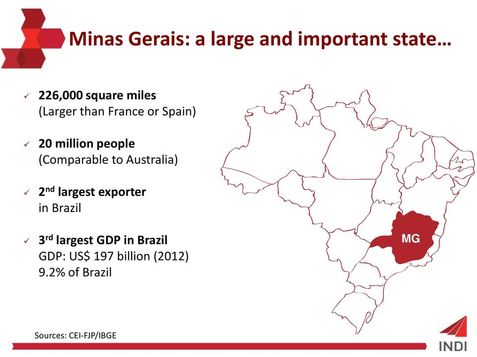 Australia) 2 nd largest exporter in Brazil MG 3 rd largest GDP in