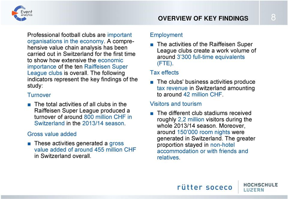 The following indicators represent the key findings of the study: Turnover The total activities of all clubs in the Raiffeisen Super League produced a turnover of around 800 million CHF in