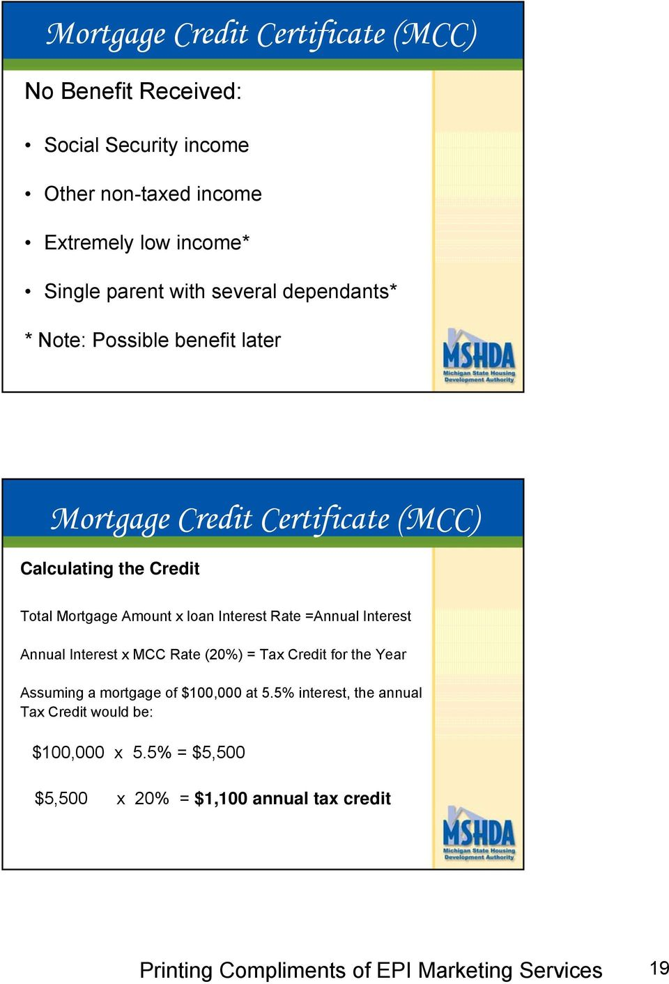 Mortgage Amount x loan Interest Rate =Annual Interest Annual Interest x MCC Rate (20%) = Tax Credit for the Year Assuming a