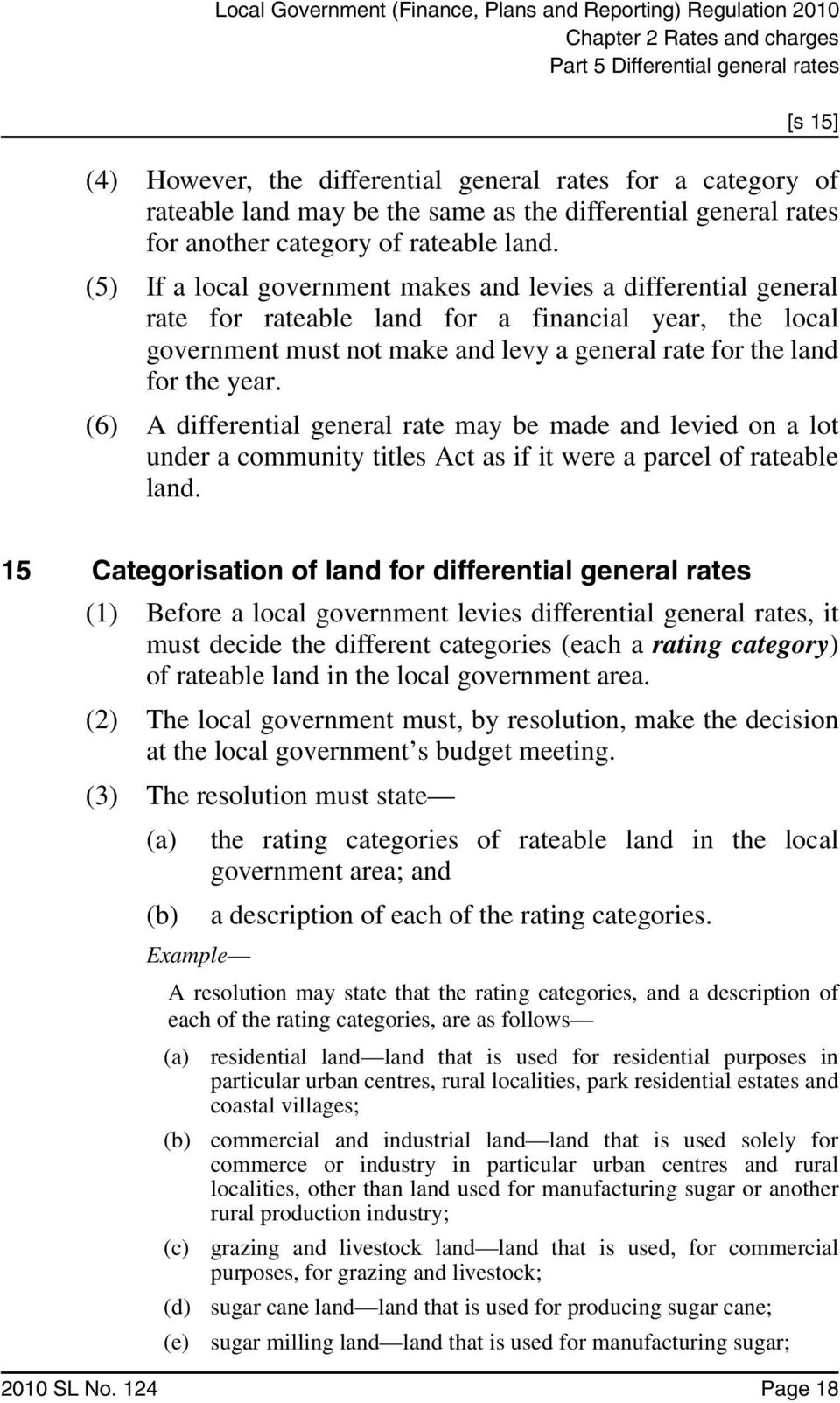 (5) If a local government makes and levies a differential general rate for rateable land for a financial year, the local government must not make and levy a general rate for the land for the year.