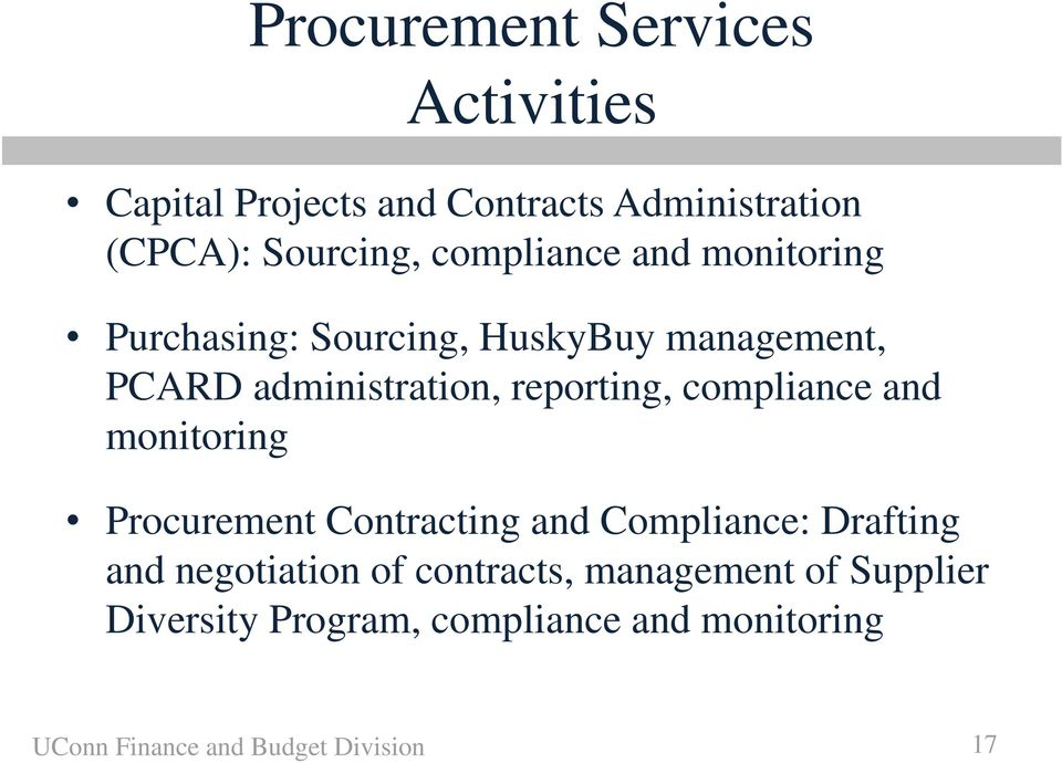compliance and monitoring Procurement Contracting and Compliance: Drafting and negotiation of