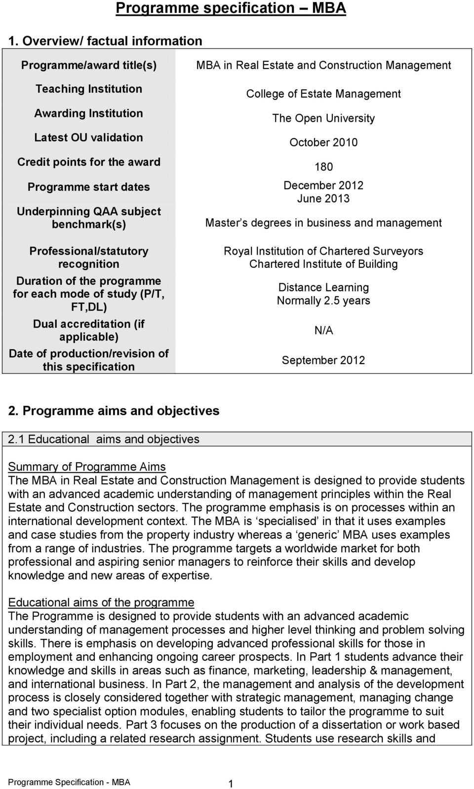 management 180 Professional/statutory recognition Duration of the programme for each mode of study (P/T, FT,DL) Dual accreditation (if applicable) Date of production/revision of this specification