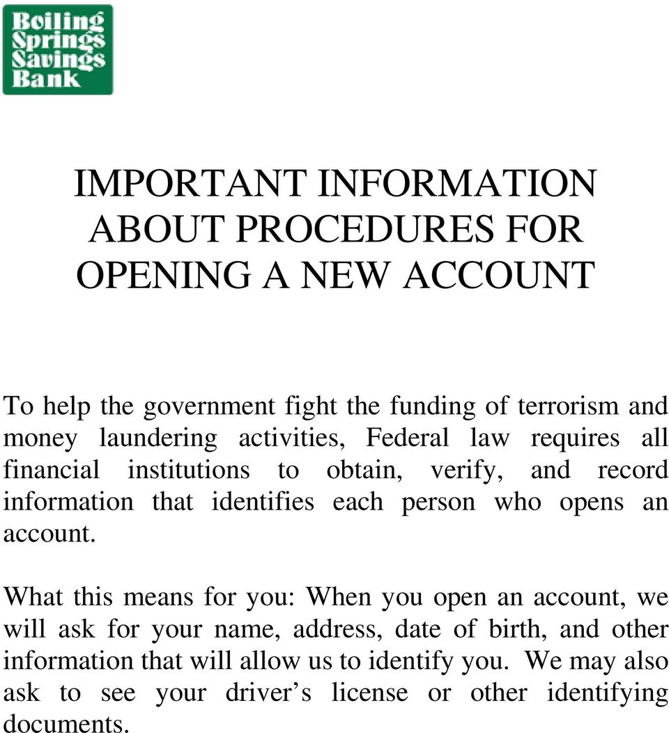 each person who opens an account.