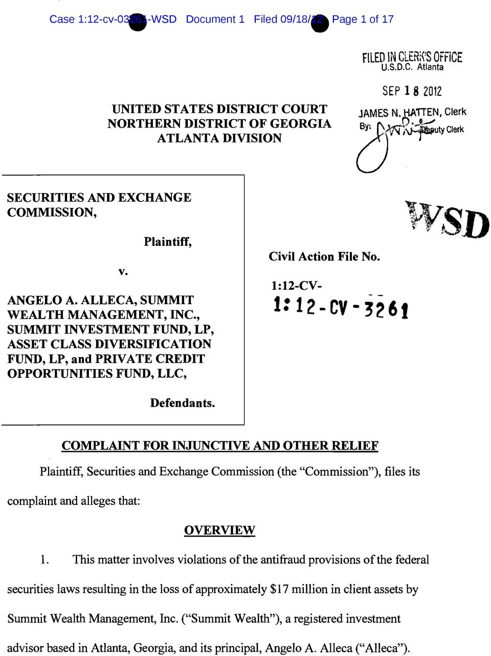 "1:12-CV- 1: 12-CV-3261 Defendants. COMPLAINT FOR INJUNCTIVE AND OTHER RELIEF Plaintiff, Securities and Exchange Commission (the ""Commission""), files its complaint and alleges that: OVERVIEW 1."