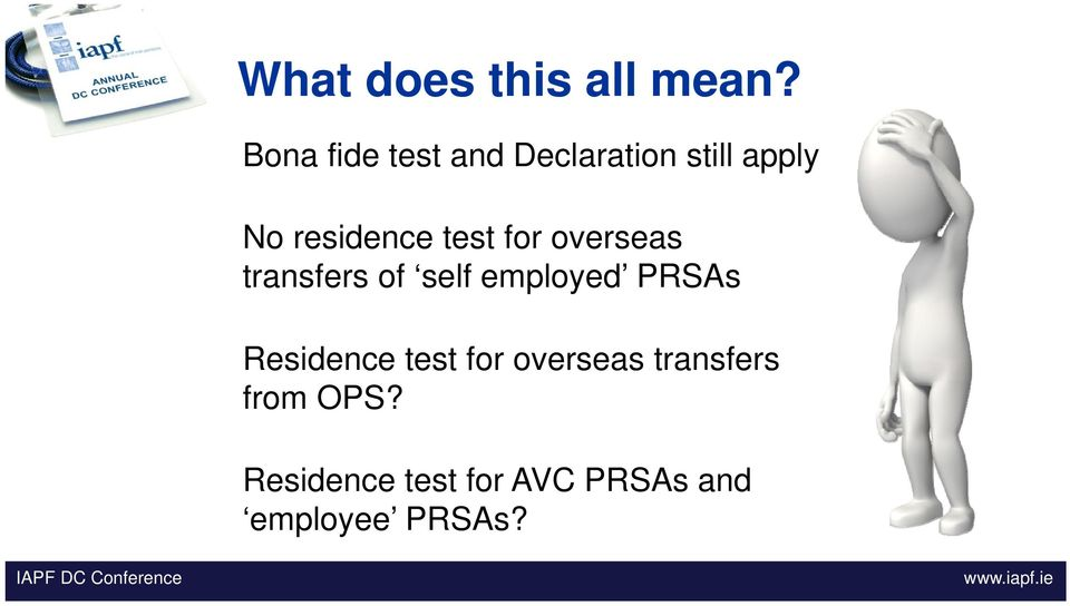 test for overseas transfers of self employed PRSAs