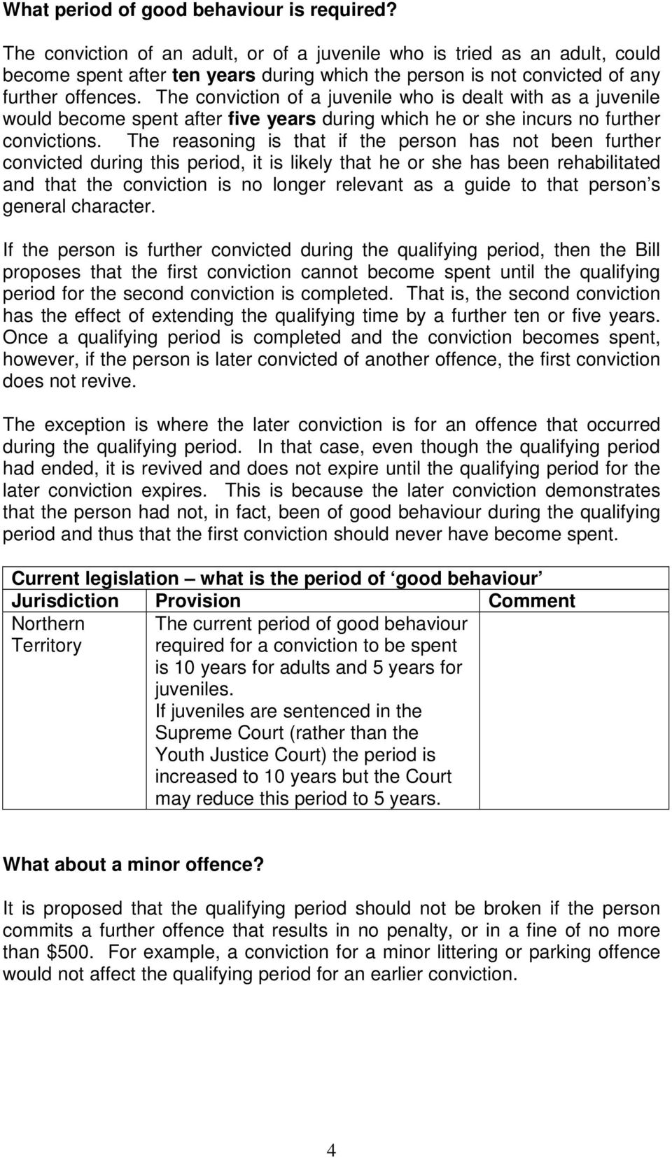 The conviction of a juvenile who is dealt with as a juvenile would become spent after five years during which he or she incurs no further convictions.