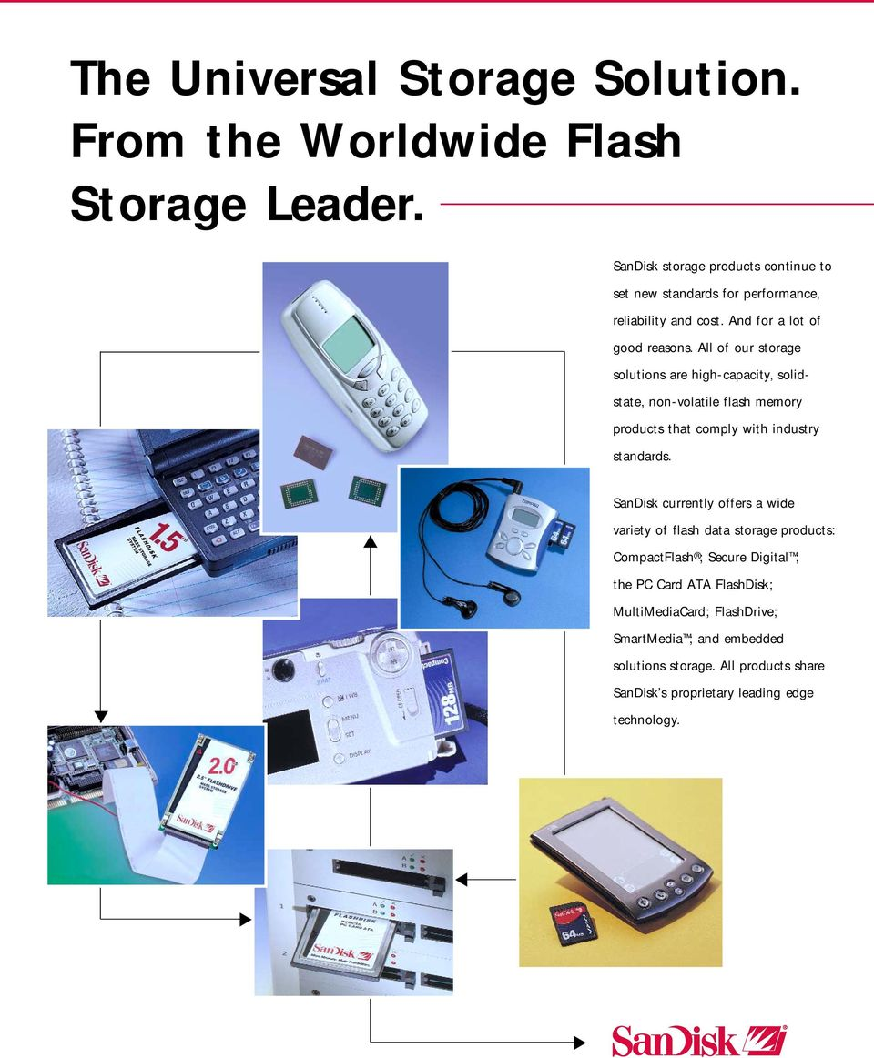 All of our storage solutions are high-capacity, solidstate, non-volatile flash memory products that comply with industry standards.