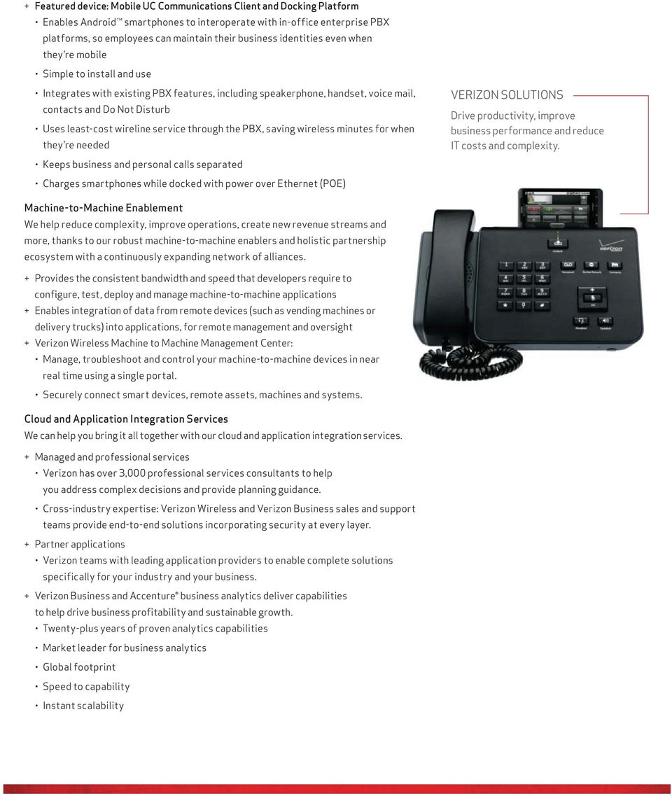 service through the PBX, saving wireless minutes for when they re needed Keeps business and personal calls separated Charges smartphones while docked with power over Ethernet (POE) VERIZON SOLUTIONS