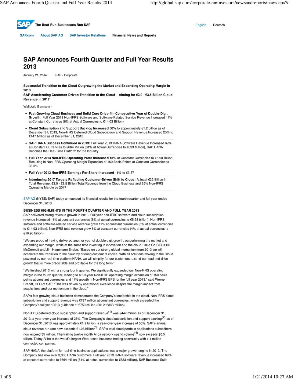 the Market and Expanding Operating Margin in SAP Accelerating Customer-Driven Transition to the Cloud Aiming for 3.0-3.