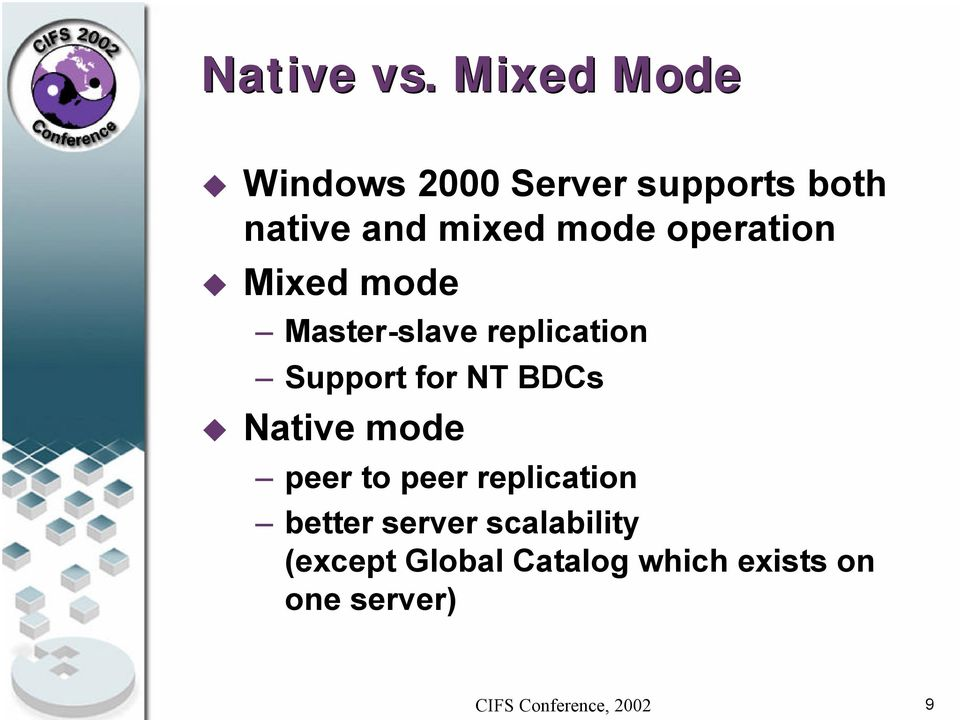mode operation Mixed mode Master-slave replication Support for
