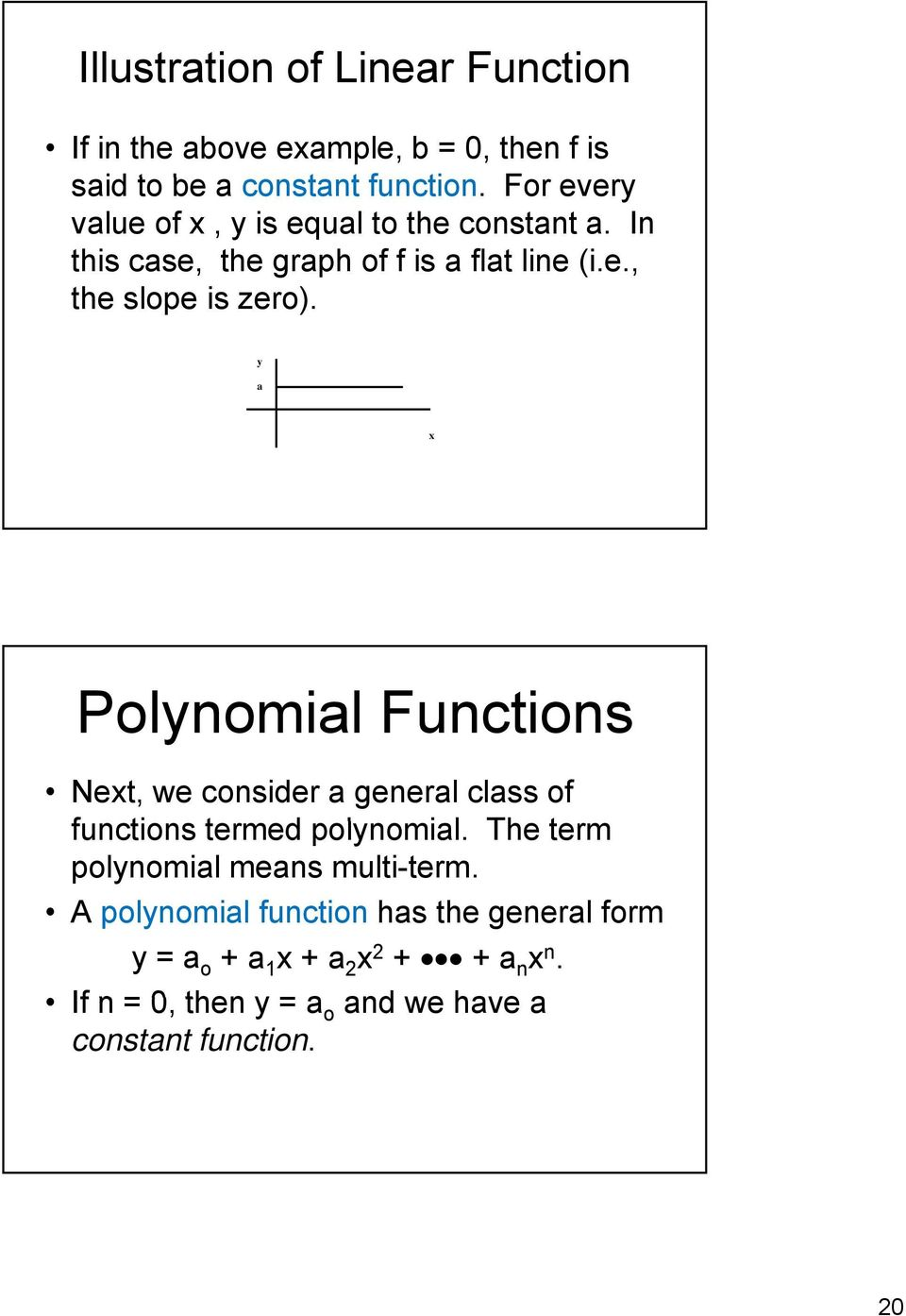y a x Polynomial Functions Next, we consider a general class of functions termed polynomial.