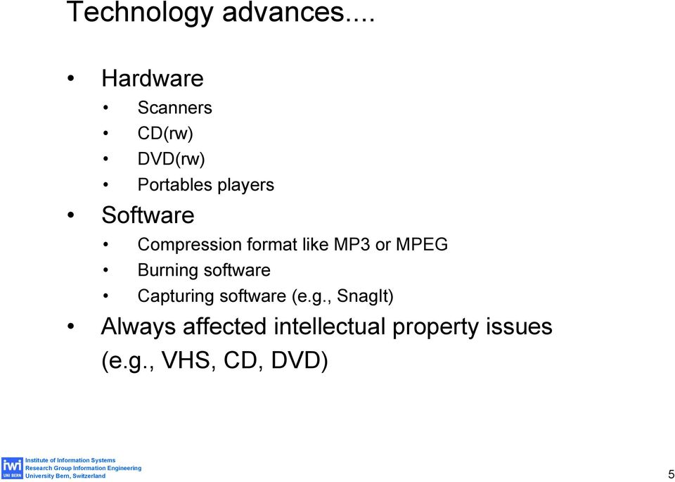 Software Compression format like MP3 or MPEG Burning