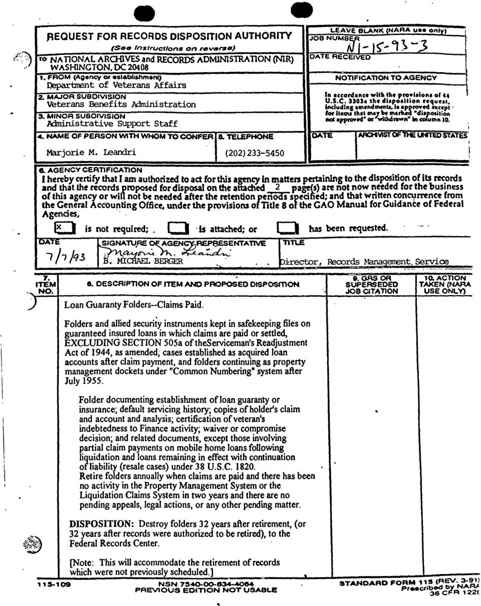 "DC 20408 1. FROM (Agenc;y 01 establishment) NOTlFICAllON TO AGENCY Qepartrrent of Veterans Affairs 2. MAJOR SUBDIVISION 1ftecconhftce wuiithe '1'0.1.10"". or 44 Veterans Benefits Administration u.s.c. nos."