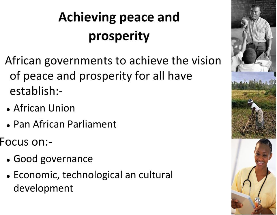establish: African Union Pan African Parliament Focus on: