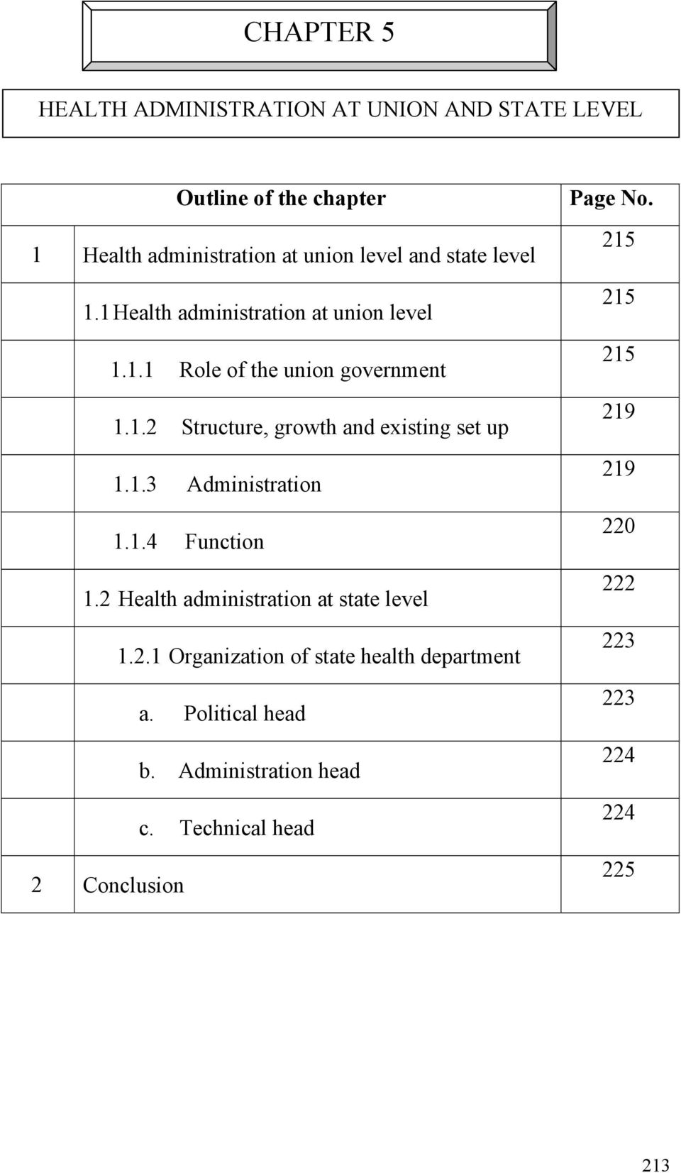 1.3 Administration 1.1.4 Function 1.2 Health administration at state level 1.2.1 Organization of state health department a.