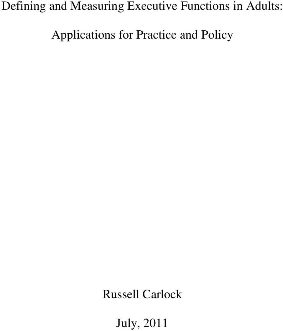 Adults: Applications for
