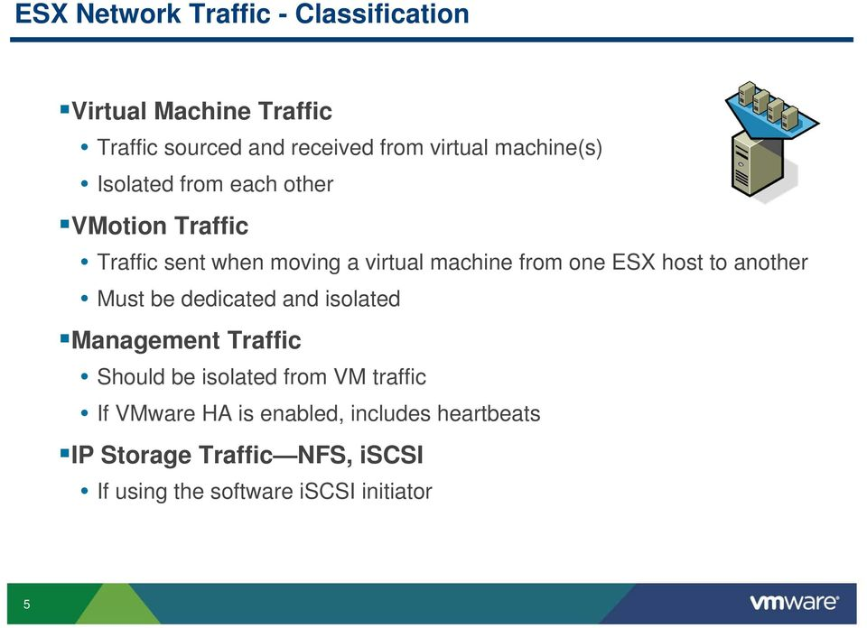 ESX host to another Must be dedicated and isolated Management Traffic Should be isolated from VM traffic