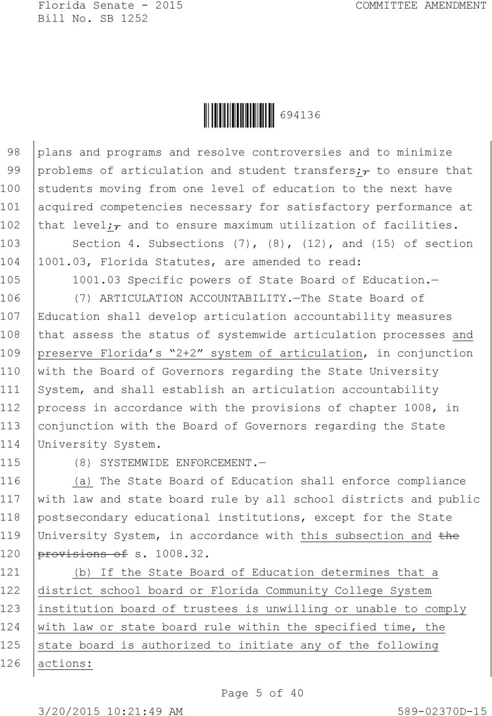 utilization of facilities. Section 4. Subsections (7), (8), (12), and (15) of section 1001.03, Florida Statutes, are amended to read: 1001.03 Specific powers of State Board of Education.