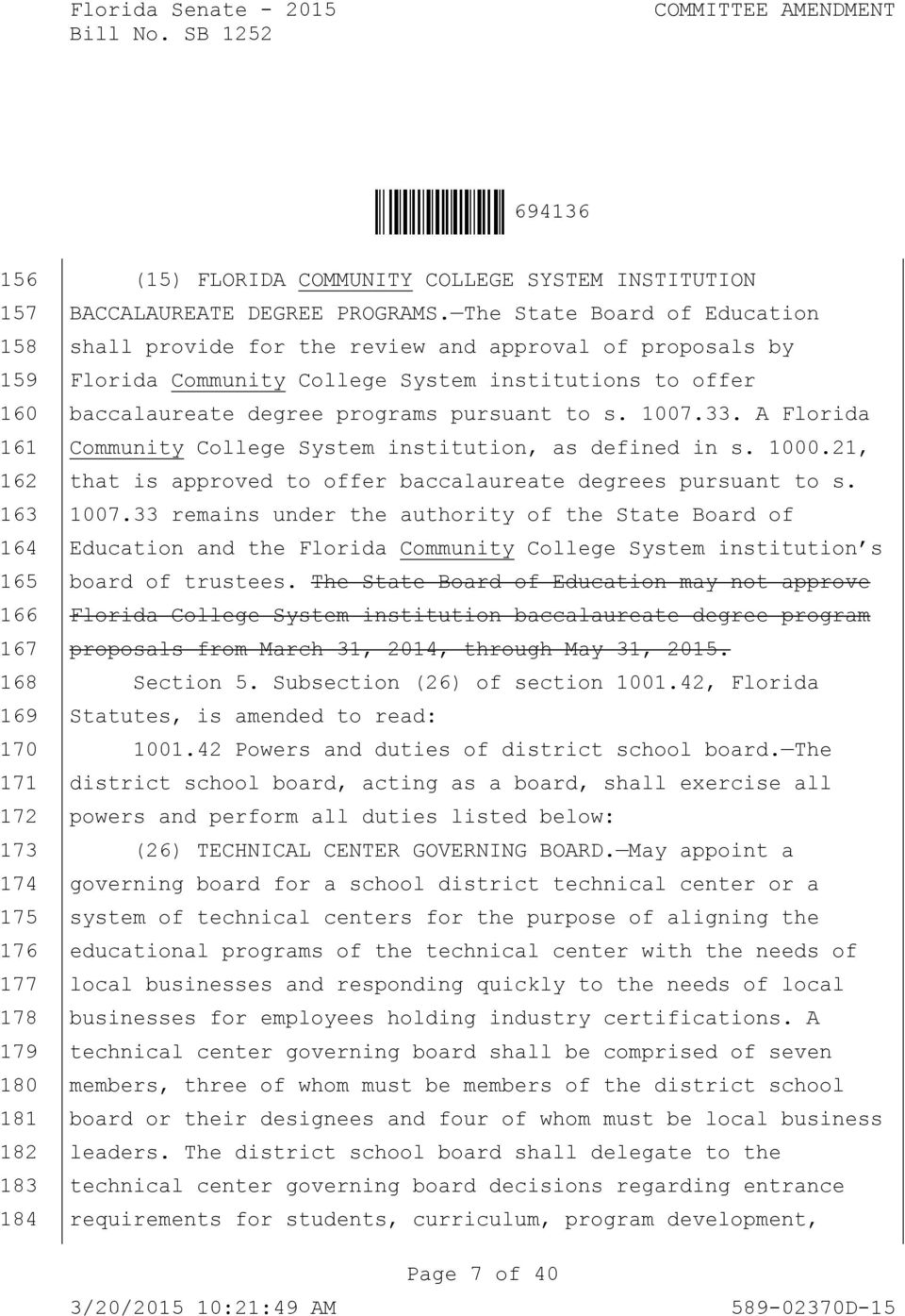 A Florida Community College System institution, as defined in s. 1000.21, that is approved to offer baccalaureate degrees pursuant to s. 1007.