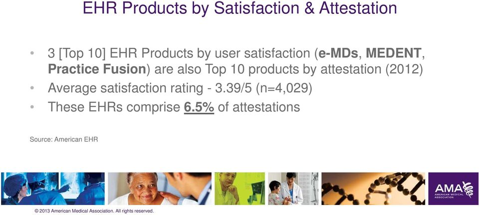 10 products by attestation (2012) Average satisfaction rating - 3.