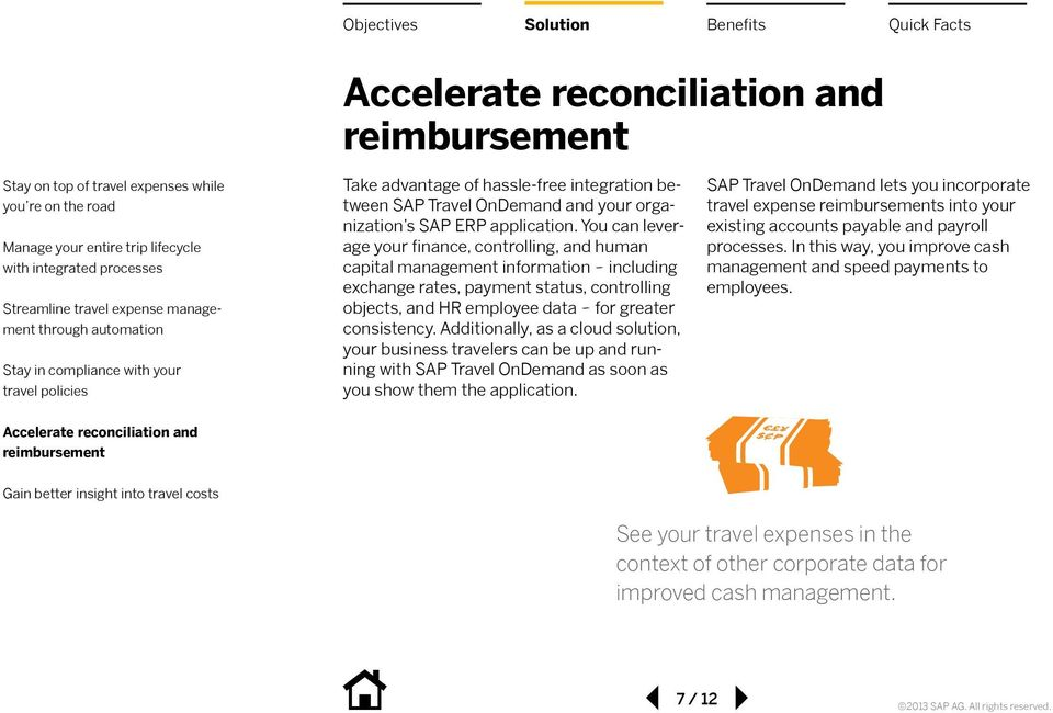 consistency. Additionally, as a cloud solution, your business travelers can be up and running with SAP Travel OnDemand as soon as you show them the application.
