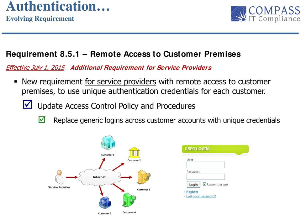 Providers New requirement for service providers with remote access to customer premises, to use