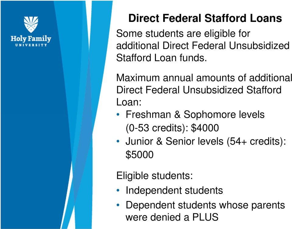 Maximum annual amounts of additional Direct Federal Unsubsidized Stafford Loan: Freshman &
