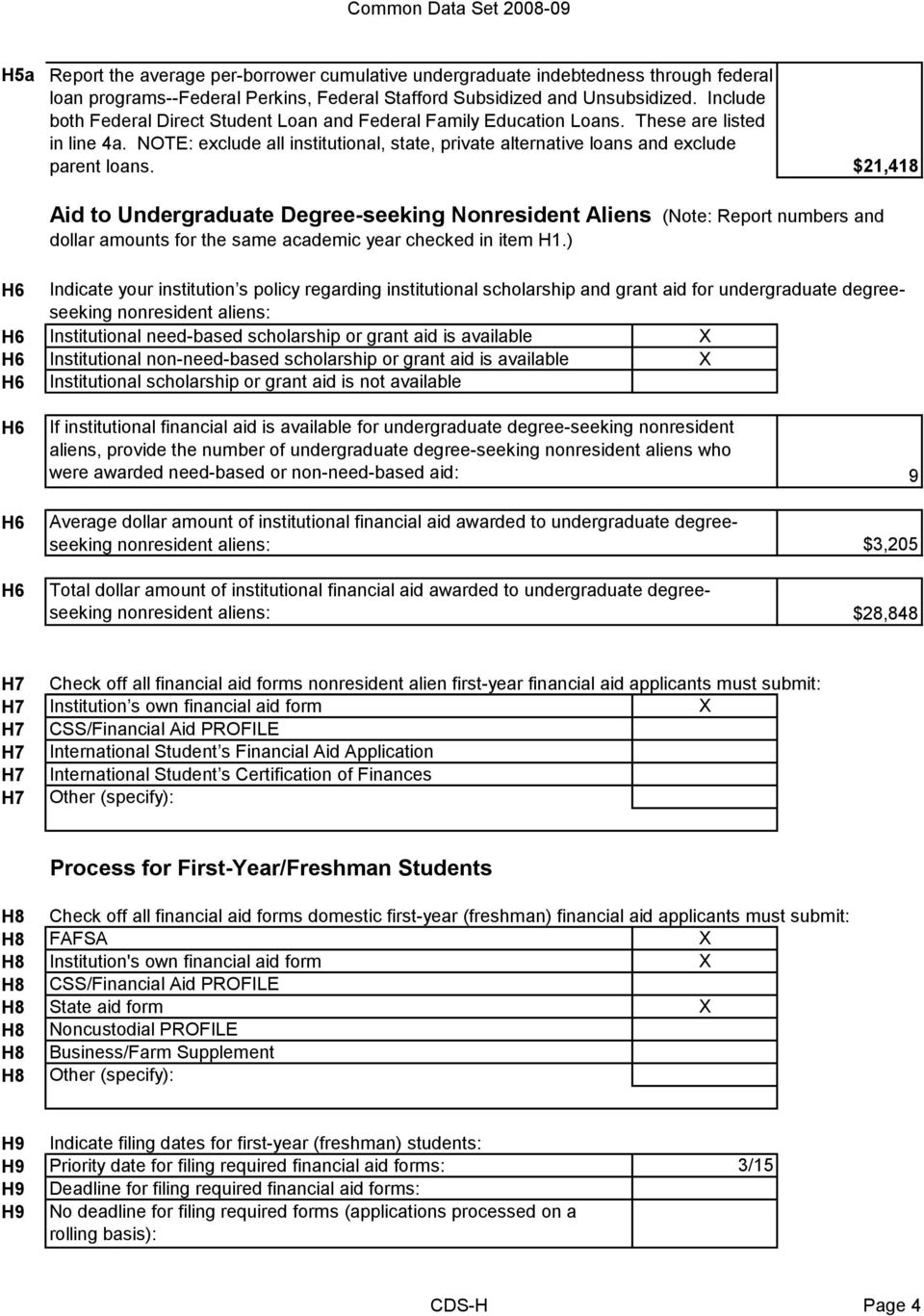 $21,418 Aid to Undergraduate Degree-seeking Nonresident Aliens (Note: Report numbers and dollar amounts for the same academic year checked in item.