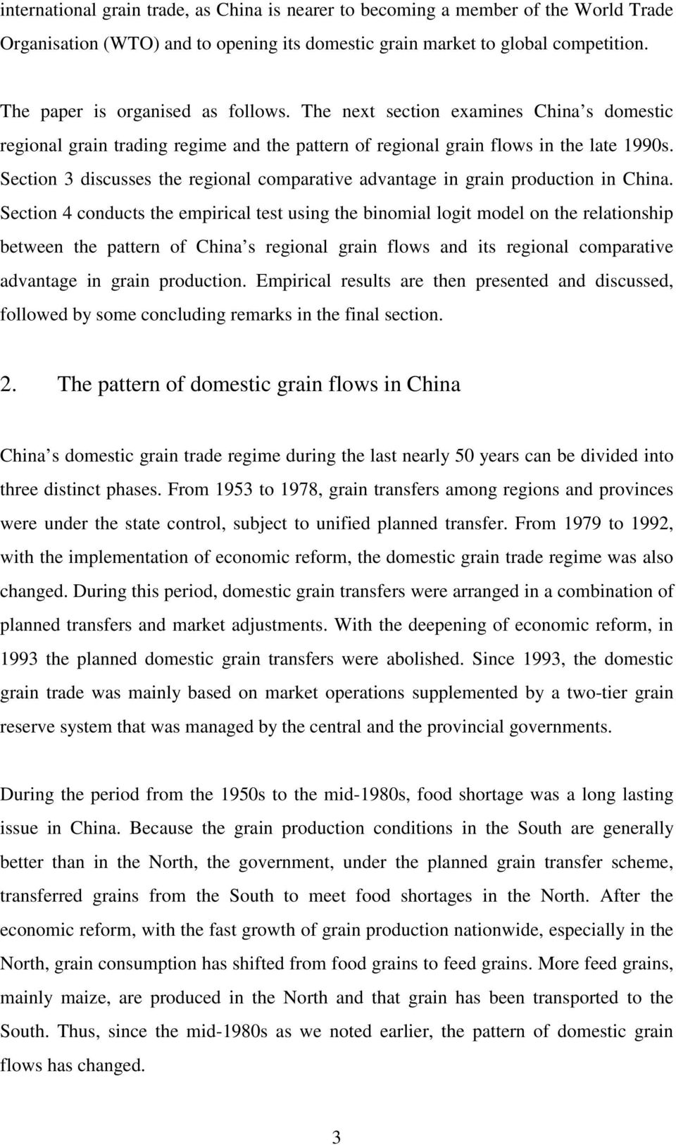 Section 3 discusses the regional comparative advantage in grain production in China.