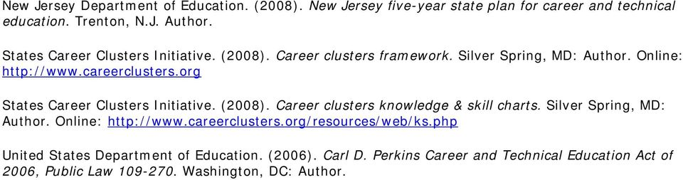 org States Career Clusters Initiative. (2008). Career clusters knowledge & skill charts. Silver Spring, MD: Author. Online: http://www.
