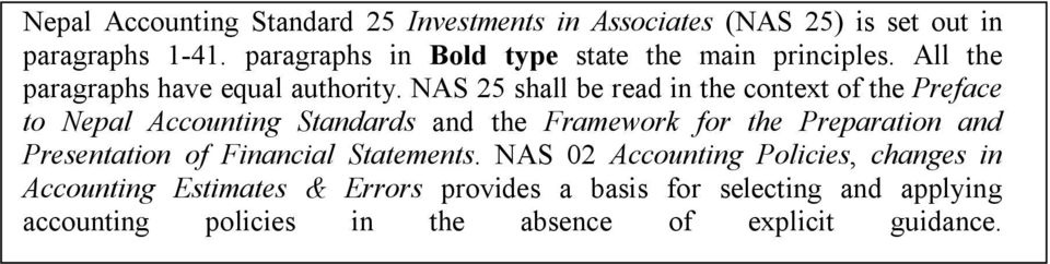 NAS 25 shall be read in the context of the Preface to Nepal Accounting Standards and the Framework for the Preparation and