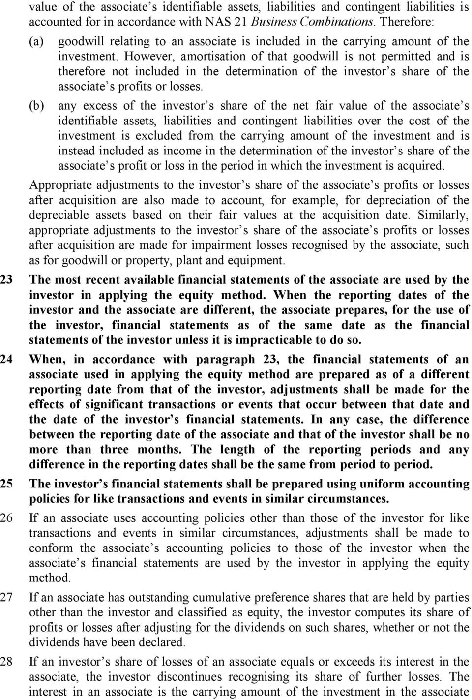 However, amortisation of that goodwill is not permitted and is therefore not included in the determination of the investor s share of the associate s profits or losses.