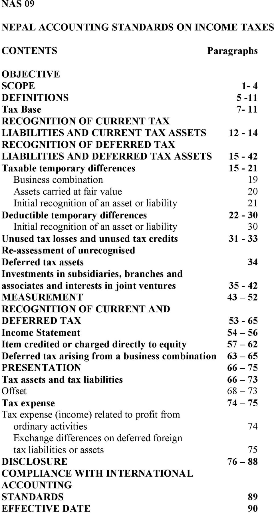 liability 21 Deductible temporary differences 22-30 Initial recognition of an asset or liability 30 Unused tax losses and unused tax credits 31-33 Re-assessment of unrecognised Deferred tax assets 34