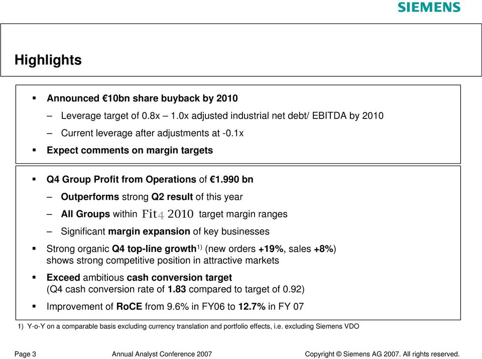 990 bn Outperforms strong Q2 result of this year All Groups within target margin ranges Significant margin expansion of key businesses Strong organic Q4 top-line growth 1) (new orders +19%,
