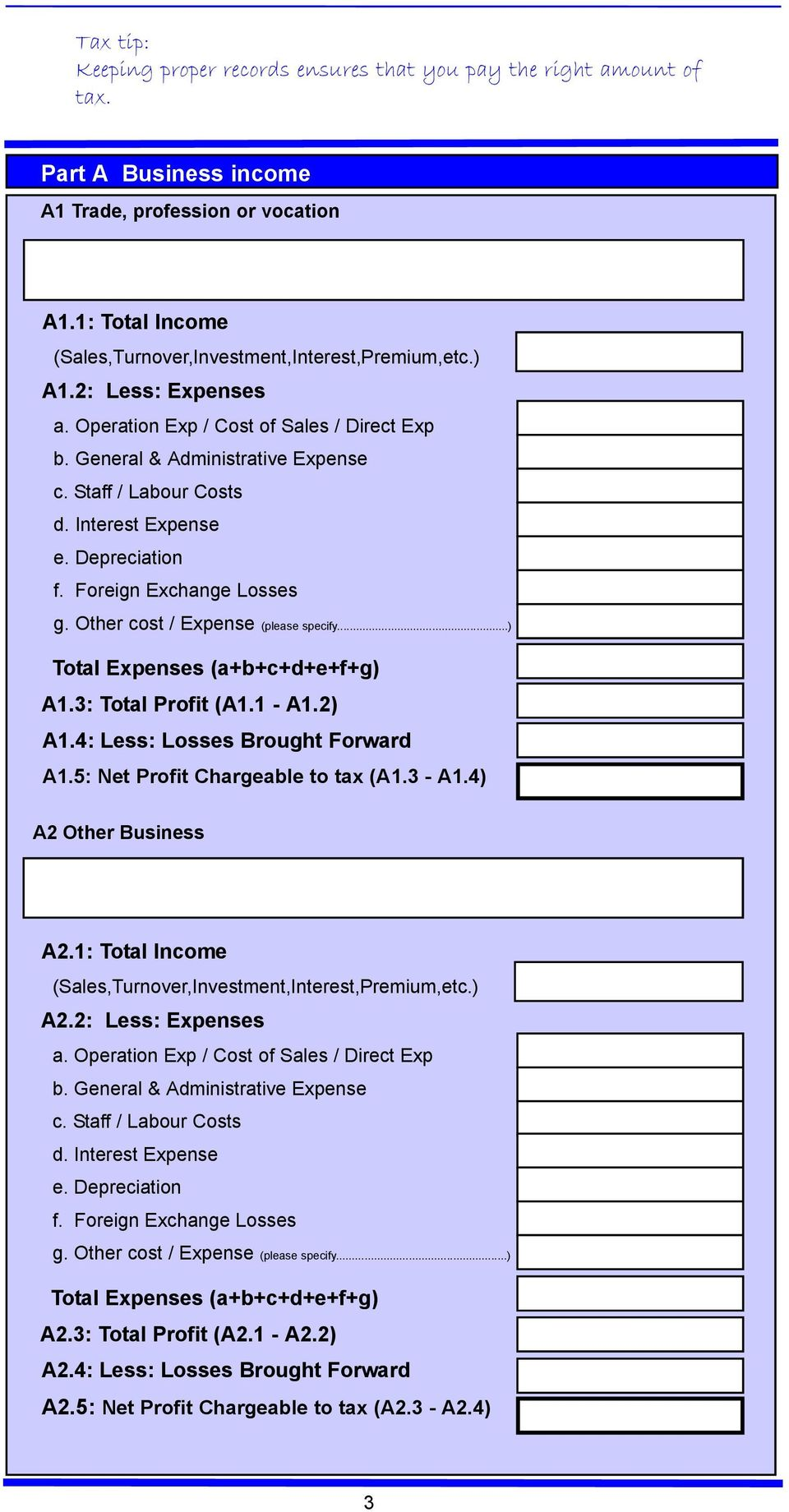 Interest Expense e. Depreciation f. Foreign Exchange Losses g. Other cost / Expense (please specify...) Total Expenses (a+b+c+d+e+f+g) A1.3: Total Profit (A1.1 - A1.2) A1.