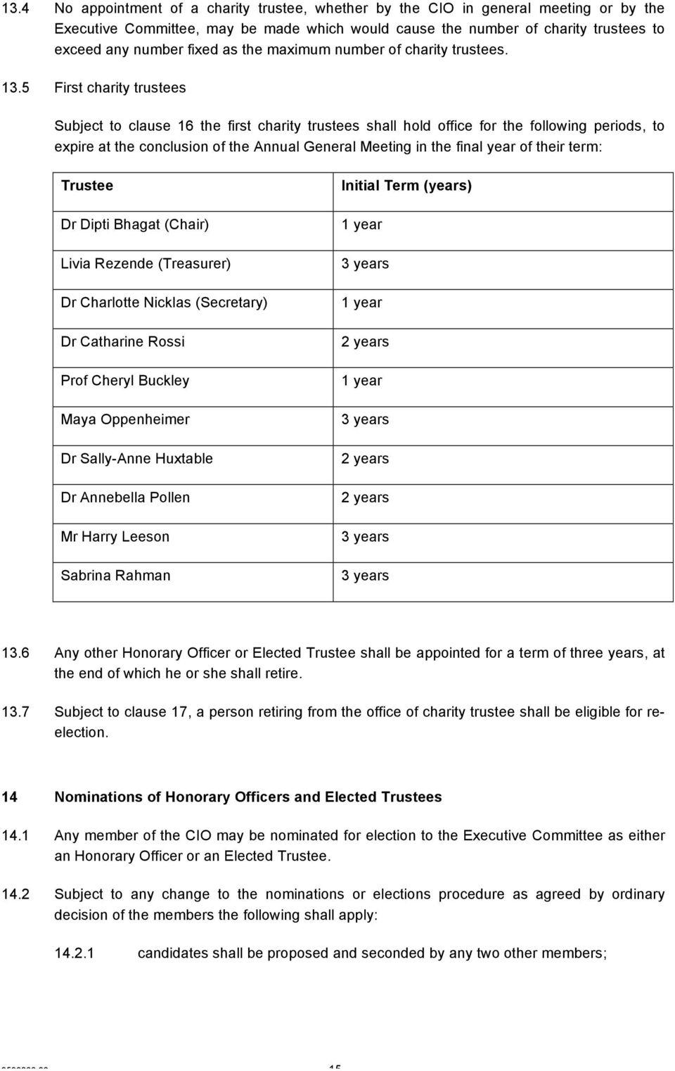 5 First charity trustees Subject to clause 16 the first charity trustees shall hold office for the following periods, to expire at the conclusion of the Annual General Meeting in the final year of