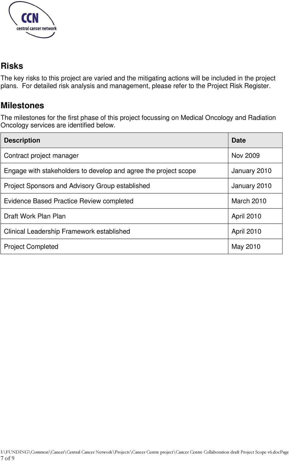 Milestones The milestones for the first phase of this project focussing on Medical Oncology and Radiation Oncology services are identified below.
