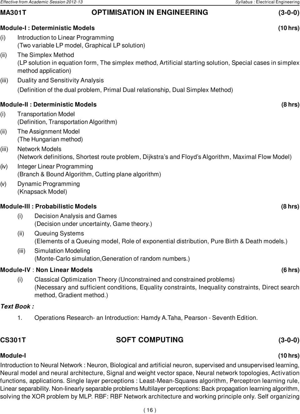 Course Structure 3rd And 4th Semesters Electrical Engineering Ee Electronic Circuit Analysis Design Neamen Download Sensitivity Definition Of The Dual Problem Primal Relationship Simplex Method