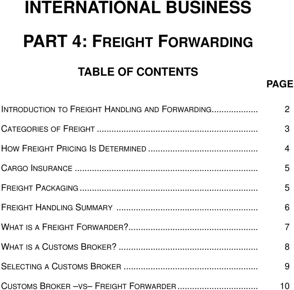 .. 5 FREIGHT PACKAGING... 5 FREIGHT HANDLING SUMMARY... 6 WHAT IS A FREIGHT FORWARDER?