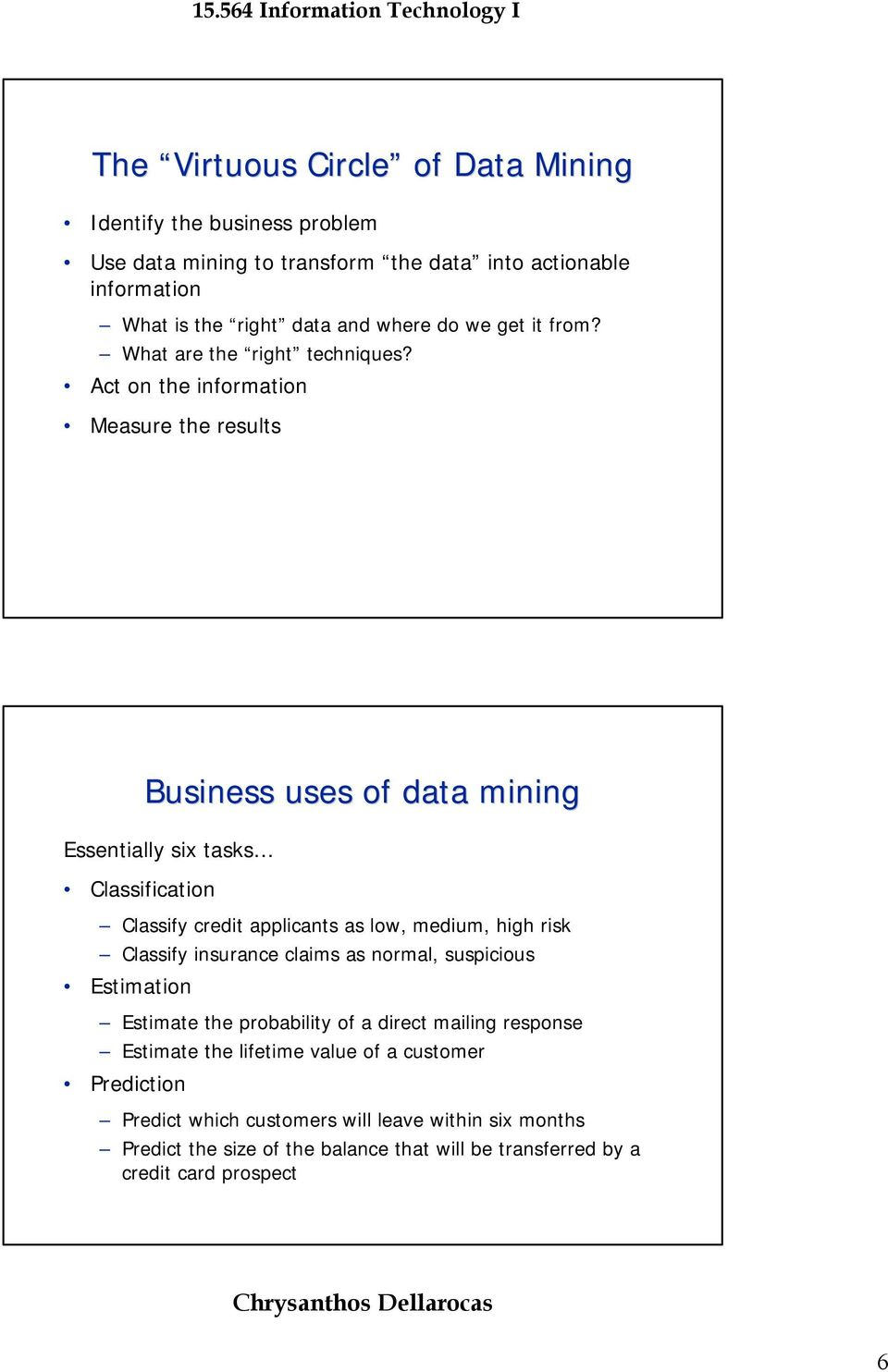 Act on the information Measure the results Business uses of data mining Essentially six tasks Classification Classify credit applicants as low, medium, high risk