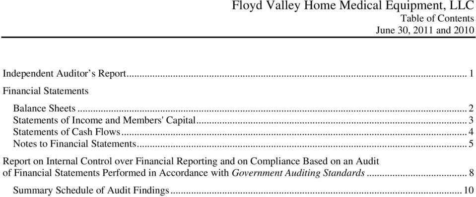 .. 5 Report on Internal Control over Financial Reporting and on Compliance Based on an Audit of Financial