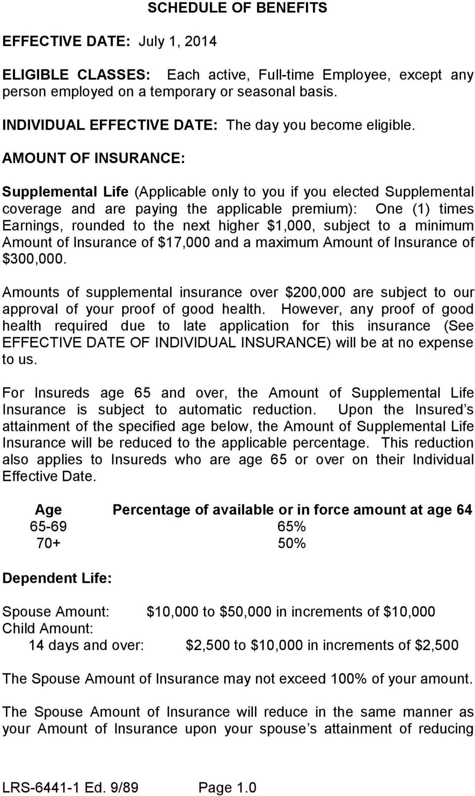 AMOUNT OF INSURANCE: Supplemental Life (Applicable only to you if you elected Supplemental coverage and are paying the applicable premium): One (1) times Earnings, rounded to the next higher $1,000,