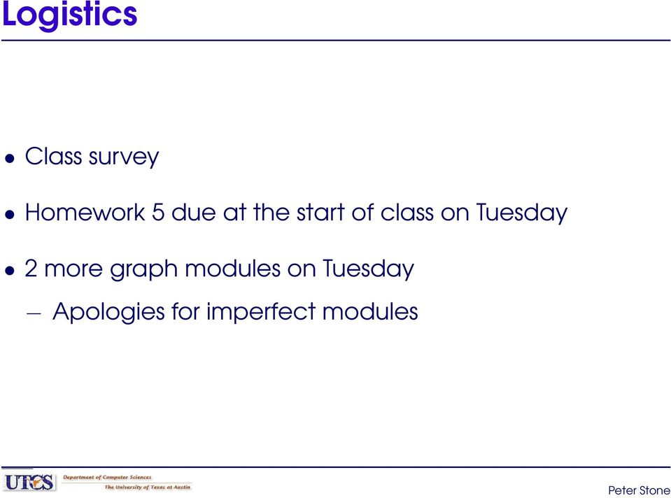 Tuesday 2 more graph modules on