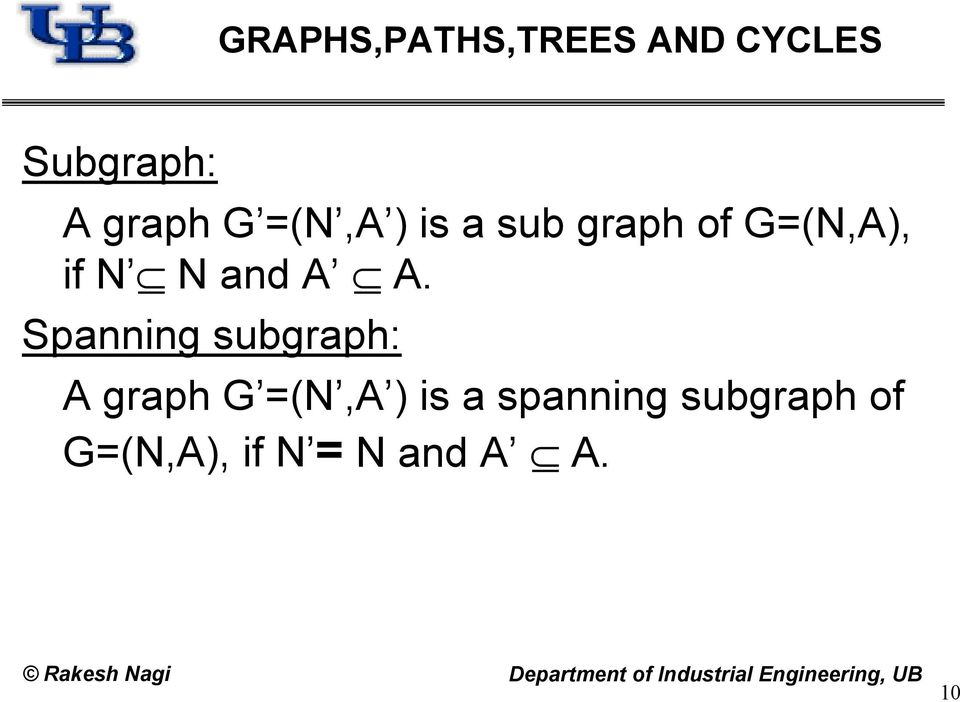 Spanning subgraph: A graph G =(N,A ) is