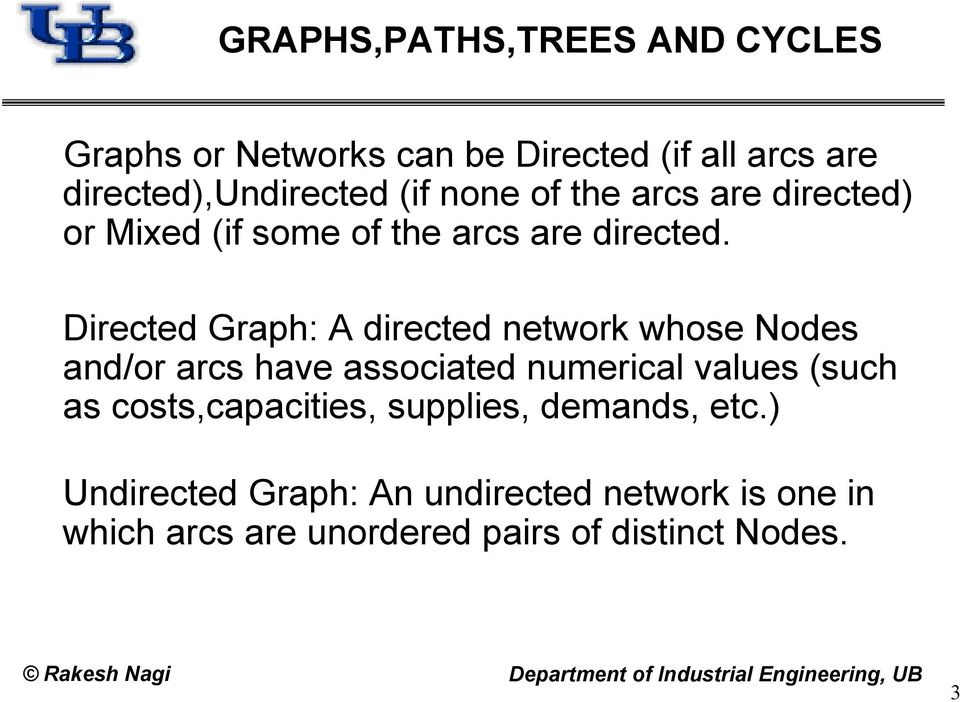 Directed Graph: A directed network whose Nodes and/or arcs have associated numerical values (such