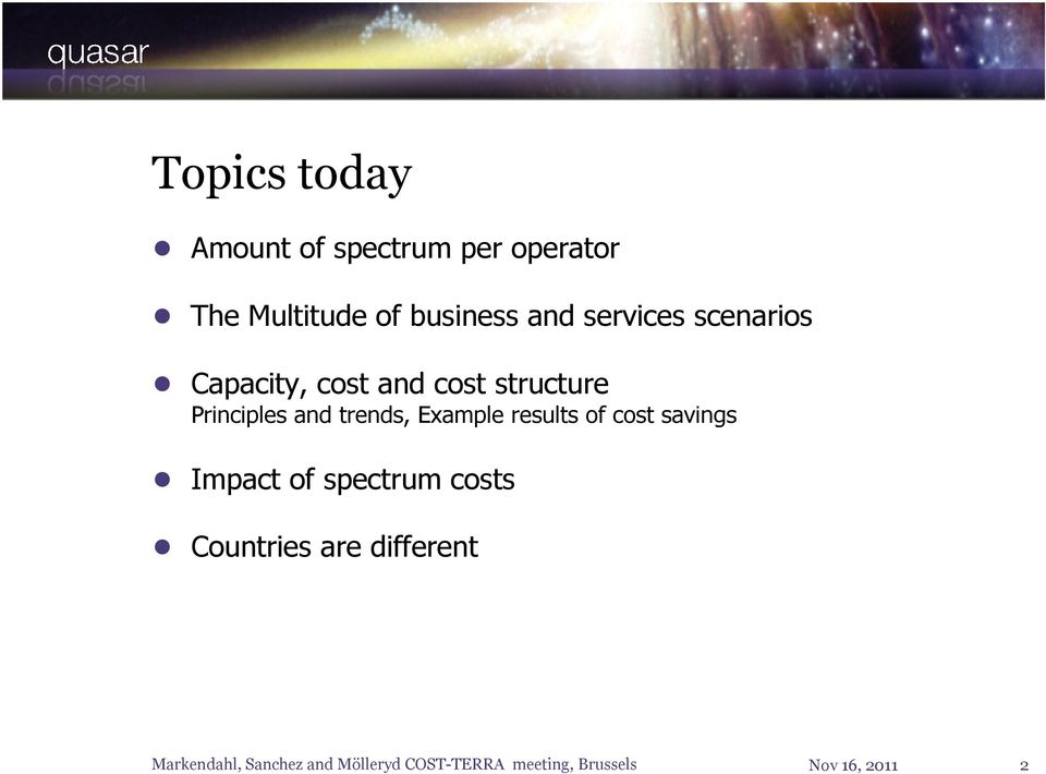 structure Principles and trends, Example results of cost
