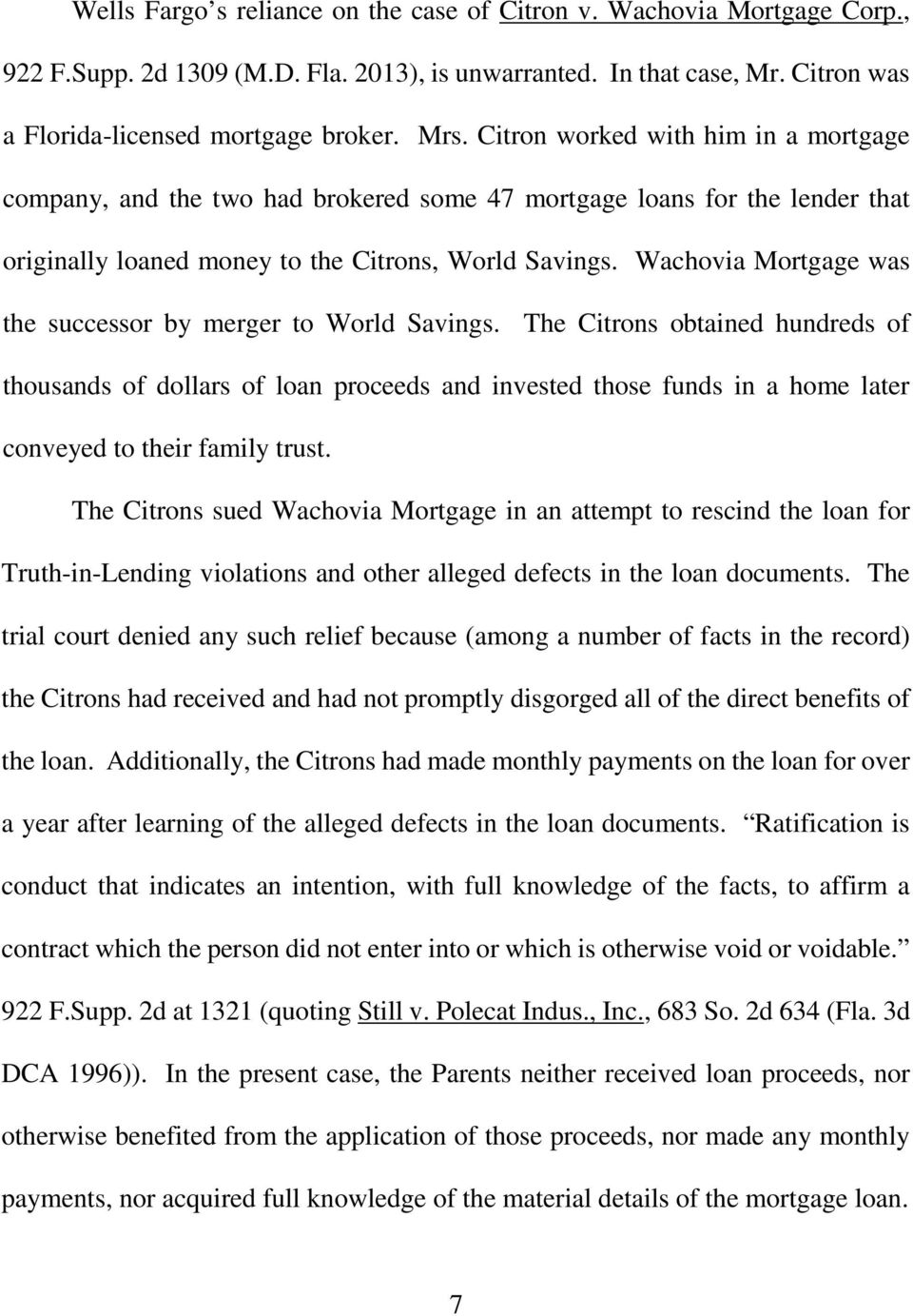 wachovia mortgage was the successor by merger to world savings