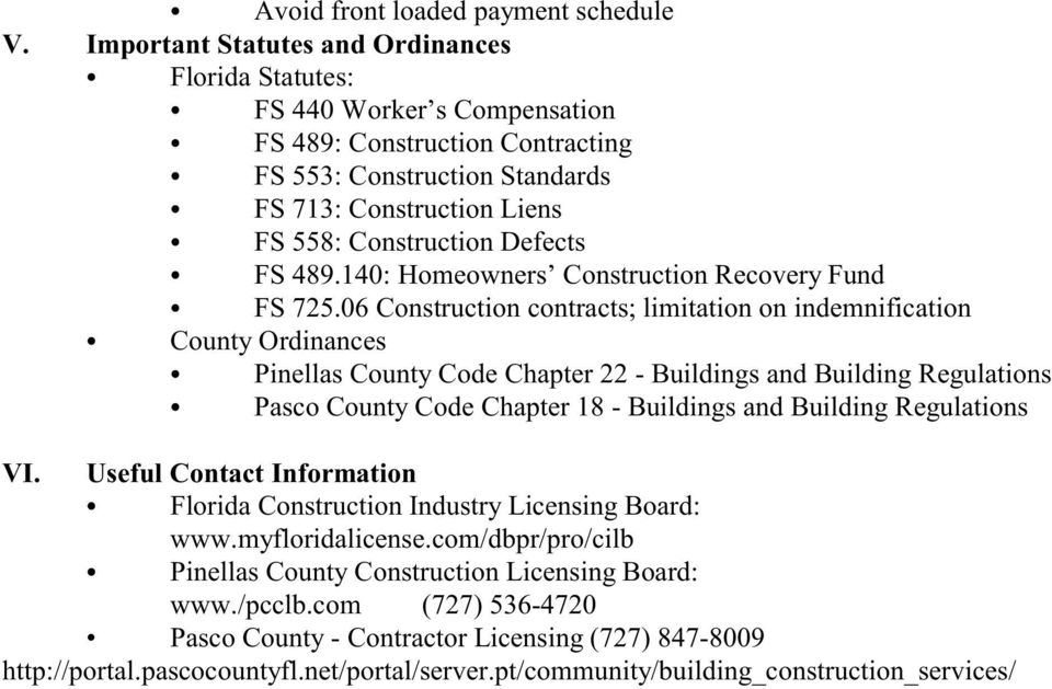 Defects FS 489.140: Homeowners Construction Recovery Fund FS 725.