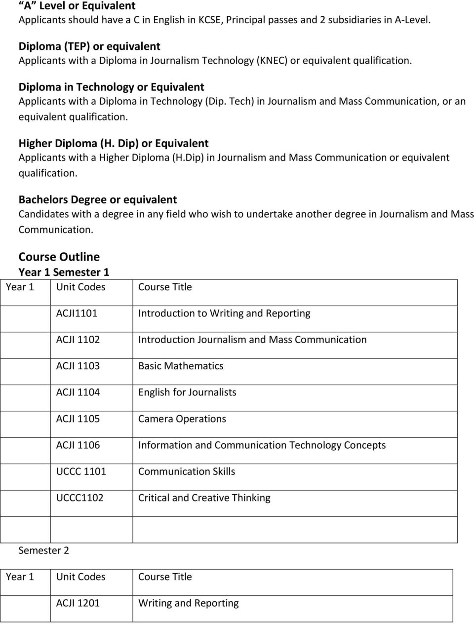 Tech) in Journalism and Mass Communication, or an equivalent qualification. Higher Diploma (H. Dip) or Equivalent Applicants with a Higher Diploma (H.