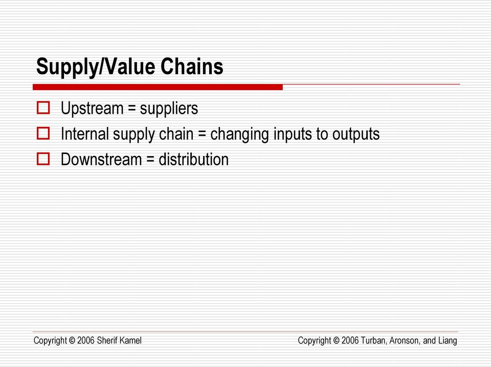 chain = changing inputs to